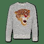 Sweater C-neck sweater Leopard Grey 220-2200-01